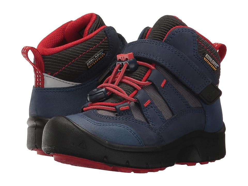 Keen Kids Hikeport Mid WP (Toddler/Little Kid) (Dress Blues/Fiery Red) Boys Shoes