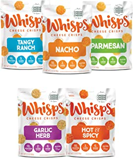 Whisps Cheese Crisps 5-Flavor Variety Pack   Tangy Ranch, Nacho, Parmesan, Garlic Herb, Hot & Spicy   Back to School Snack...