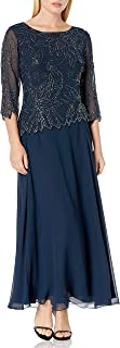 J Kara Women's Petite Floral Beaded Gown
