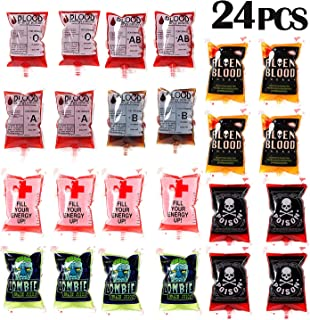 Blood Bags Drink Container 24 Pcs Drink Cups Bags Vampire Zombie Party Favors Supplies Halloween Decorations