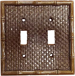 Leviton Brass Tiki Bamboo 2-Gang Switch Cover Plate Switchplate