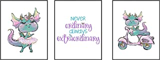 Silly Goose Gifts Never Ordinary Always Extraordinary Trendy Dragon Themed Wall Art Decor (Set of Three) (White)