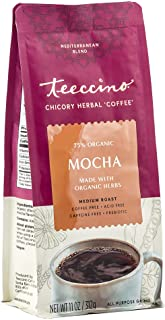 Teeccino Chicory Coffee Alternative - Mocha - Ground Herbal Coffee That's Prebiotic, Caffeine-Free & Acid Free, Medium Roa...