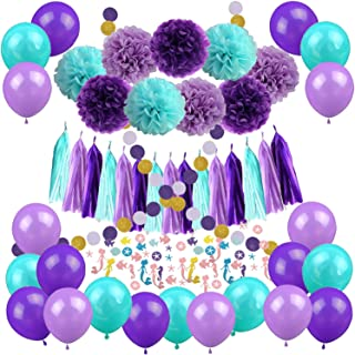 Mermaid Party Decorations, Cocodeko 57 Pcs Pom Poms Paper Tassel Polka Dot Garland Mermaid Confetti Balloons for Mermaid Birthday Baby Shower Frozen Under the Sea Party Supplies - Teal Lavender Purple