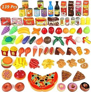 comprar comparacion joylink 139pcs de Juguetes Cortar Frutas Verduras Pizza Juego de Plástico para Niños Juguetes Temprano Eeducativos Set de ...