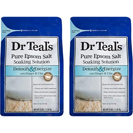 Dr Teal's Epsom Salt Bath Soaking Solution with Ginger and Clay - Detoxify and Energize - Pack of 2, 3 lb Resealable Bags - Moisturize Your Skin, Relieve Stress and Sore Muscles
