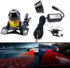 LEADTOPS Anti Collision Rear-end Car Laser Tail Fog Light Auto Brake Parking Lamp Rearing Warning Light Motorcycle Double Heads (Grid and Straight Line)