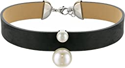 Majorica - 8/14mm Round Pearls on Black Leather Choker Necklace 14-16