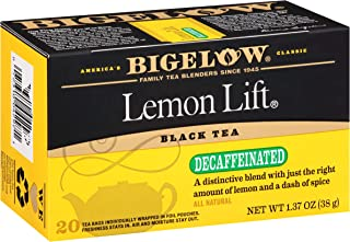Bigelow Lemon Lift Decaffeinated Black Tea 20 ea (Pack of 6), 120 Tea Bags Total. Decaffeinated Individual Black Tea Bags, for Hot Tea or Iced Tea, Drink Plain or Sweetened with Honey or Sugar