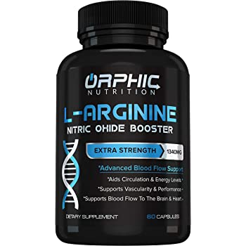 Extra Strength L Arginine - Nitric Oxide Supplement for Muscle Growth, Exercise Performance and Endurance, Vascularity, Heart Health, Increased Energy, Blood Flow Enhancer - 60 Caps, L-Arginine