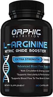 Extra Strength L Arginine - Nitric Oxide Supplement for Muscle Growth, Exercise Performance and Endurance, Vascularity, He...