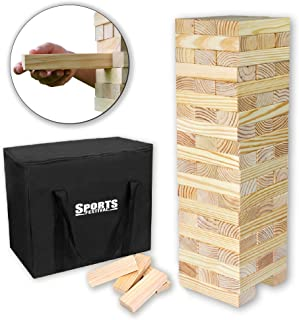Sports Festival Giant Wooden Tumbling Timbers with Storage Bag, Hardwood Block Stacking Game for Yard Games