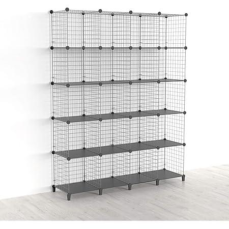 SIMPDIY Étagère cube 20 casiers empilables modulaires pour livres et rangement de cubes de rangement multi-usages DIY en treillis métallique Gris