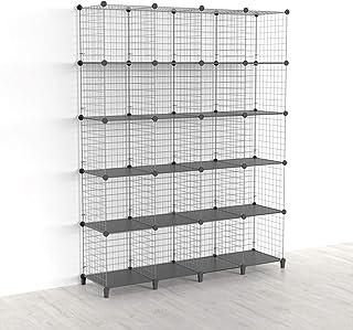 SIMPDIY Étagère cube 20 casiers empilables modulaires pour livres et rangement de cubes de rangement multi-usages DIY en t...