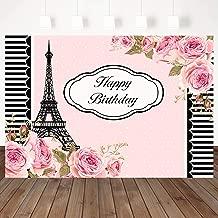 Mocsicka Happy Birthday Backdrop Paris Eiffel Tower Background Pink Flower Backdrops Black White Stripes Border Banner 7×5ft Vinyl Girl Birthday Party Photography Background