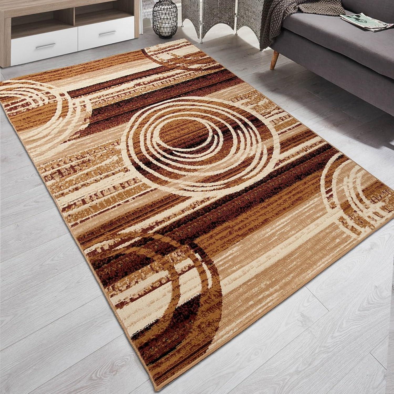 Carpeto Designer Teppich Modern Kreis Abstrakt Stil Muster Meliert in Beige Braun - KO Tex (250 x 300 cm)