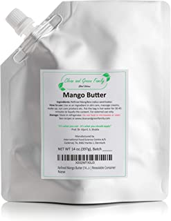 Refined Mango Butter (14 Oz) | Used for DIY Beauty and Health Products, Mango Conditioner, Butter Lotion, Mango Hand Cream...