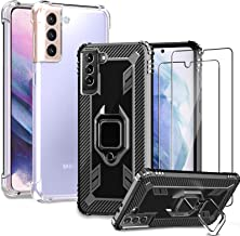 Shock-Absorbing 2pcs Tempered Glass Screen Protector 10X Anti-Yellowing IMBZBK Military Grade Protection 4 Sets 2pcs Case for Samsung Galaxy A12 Cover with Magnetic Ring Kickstand