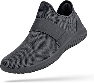 Mens Fashion Sneakers Slip on Laceless Breathable Gym Shoes Casual Lightweight Knit on Running Walking Tennis Athletic Shoes
