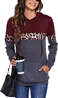 Bluetime Women Drawstring Pullover Hoodies Casual Long Sleeve Tops Color Block Sweatshirts with Pocket (S-XXL)