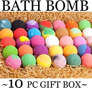 Natural Bath Bombs Gift Set - Bath Bombs for Kids & Adults Infused with Essential Oils! Individually Wrapped Lush Bath Bomb Gift Set for Women & Kids! (10 Pure Bath Bombs)