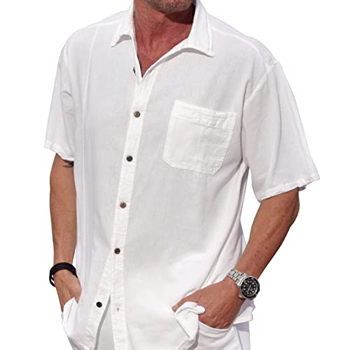 b116c32033 M&B USA Cotton White Short-Sleeve Casual Lightweight Beautiful Embroidered  Button Down Shirt