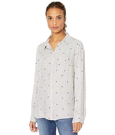 Dylan by True Grit Super Soft Plaids Heart Stripe Button-Up Pajama Top (Warm White/Vintage Black) Women