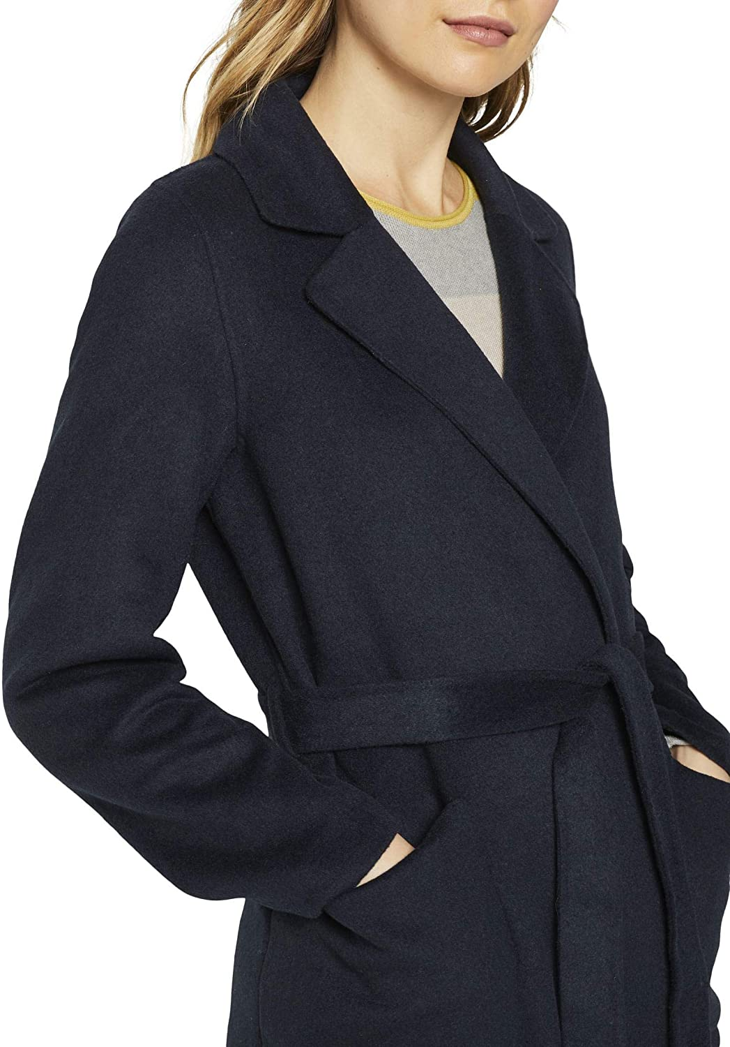 TOM TAILOR Damen Jacken Langer Mantel mit Bindegürtel Sky Captain Blue