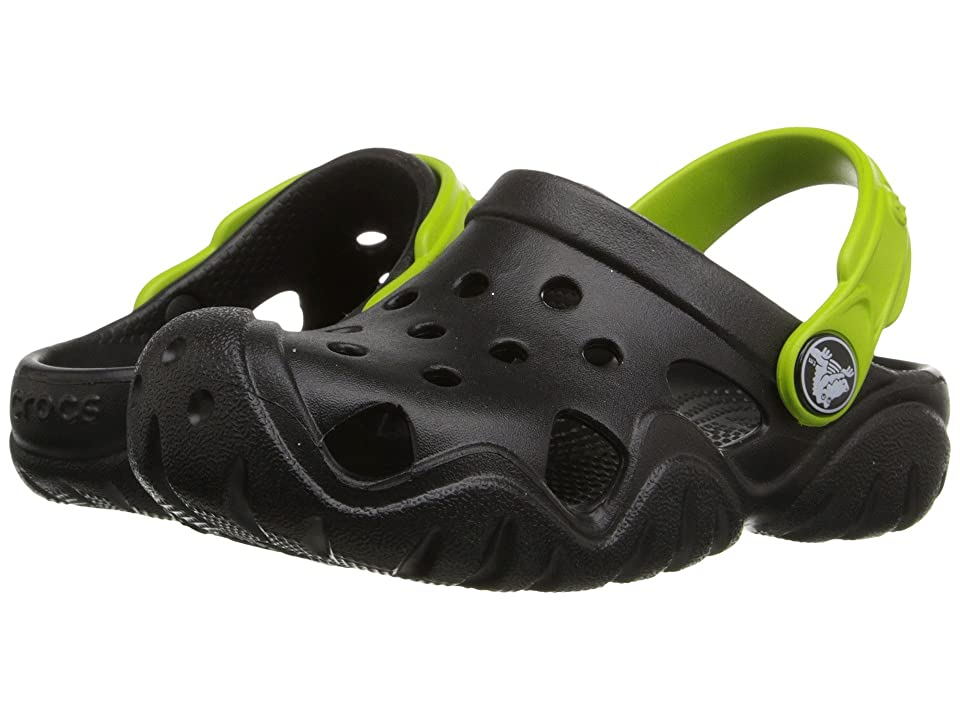 Crocs Kids Swiftwater Clog (Toddler/Little Kid) (Black/Volt Green) Kids Shoes