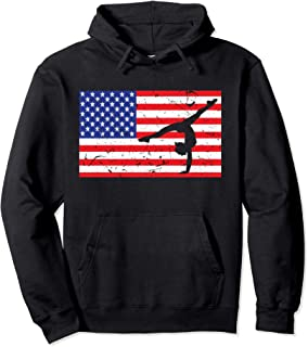 Distressed Tumbling USA American Flag Vintage Gymnastics Pullover Hoodie