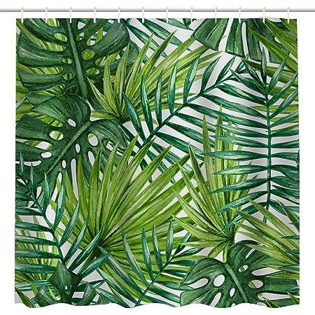 Nature Spring Green Plant Tree Leaf Waterproof Fabric Bathroom shower curtain