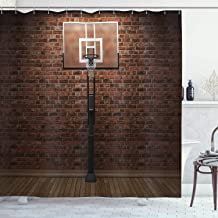 Ambesonne Basketball Shower Curtain, Old Brick Wall and Basketball Hoop Rim Indoor Training Exercising Stadium Picture, Cloth Fabric Bathroom Decor Set with Hooks, 84 Long Extra, Brown