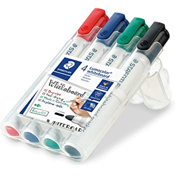 Staedtler Lumocolor 351 WP4 Bullet Tip Whiteboard Marker - Pack of 4 (Assorted)