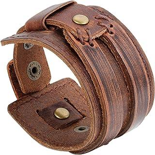 Bracciale per Donna Uomo JewelryWe drachensilber, largo in pelle Bracciale, in vera pelle, pulsante, marrone
