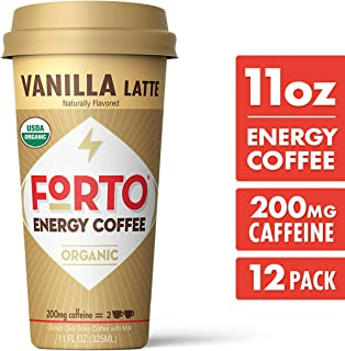 FORTO Energy Coffee – 200mg Caffeine, Vanilla Latte, Delicious & Organic Energy, Ready-To-Drink 11 Fl Oz, Pack of 12