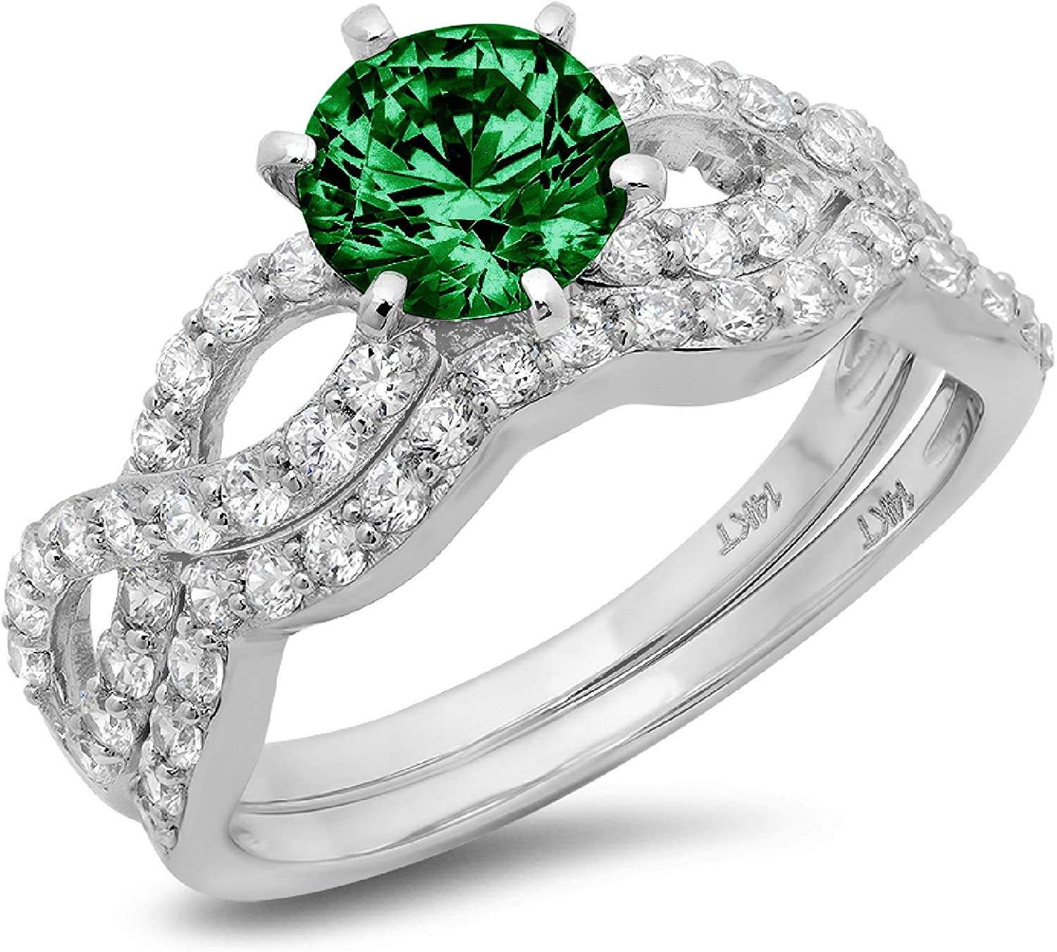 1.49ct Round Cut Halo Pave Solitaire Split Shank Accent VVS1 Ideal Flawless Simulated CZ Green Emerald Engagement Promise Designer Anniversary Wedding Bridal ring band set Curved 14k White Gold