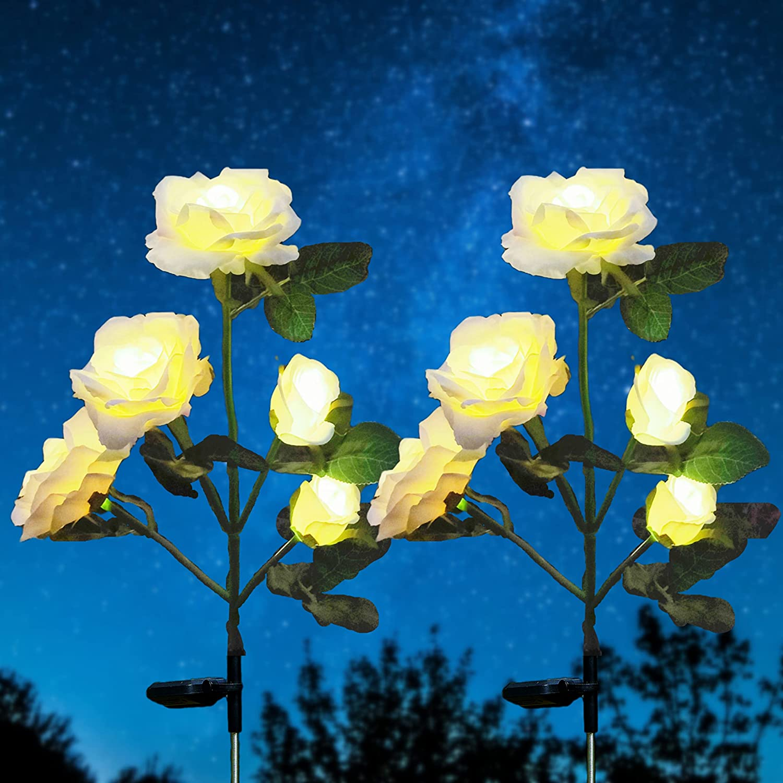Over online shop item handling ☆ Solar Garden Stake Lights 2 Pack Flowers with 10 Rose Landscape