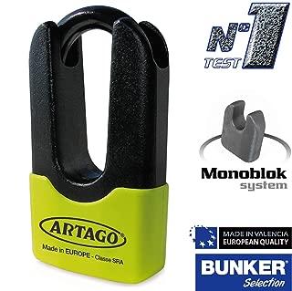 Artago 69X6 Antirrobo Disco Alta Gama y Soporte Yamaha MT-09 y Tracer 900 Sold Secure Gold ART4 Amarillo Fluor homologado Sra