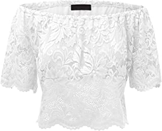 WT1771 Womens Strapless Floral Crochet Lace Off Shoulder Crop Top