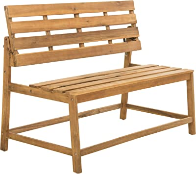 Safavieh PAT6753A Collection Ruben Teak Balcony Bench and Table Outdoor Set, Natural