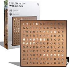 SHARPER IMAGE Light Up Electronic Word Clock, Copper Finish with LED Light Display, USB..