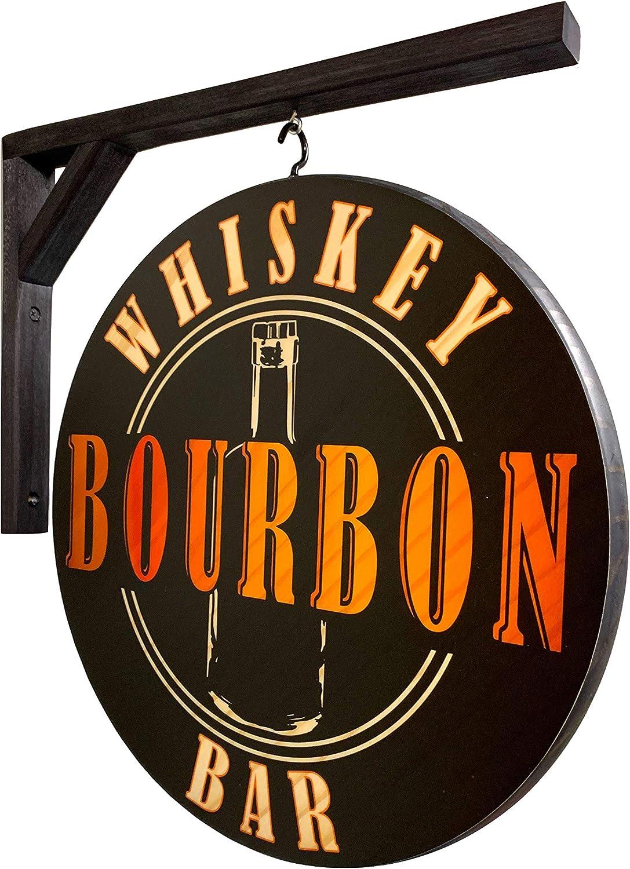 Vintage Signs List price Whiskey Over item handling Bourbon Pub Sign inch 15 - Doub Diameter