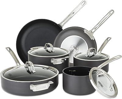 Viking Culinary Juego de utensilios de cocina antiadherentes anodizados duros, 10 piezas, gris
