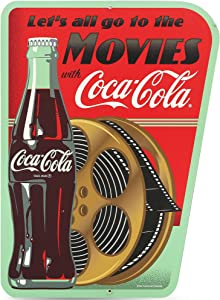 Open Road Brands Coca-Cola Movie Wall Art - Vintage Coca-Cola Metal Wall Decor for Theater Room, Basement or Living Room - Let's All Go to The Movies with Coca-Cola