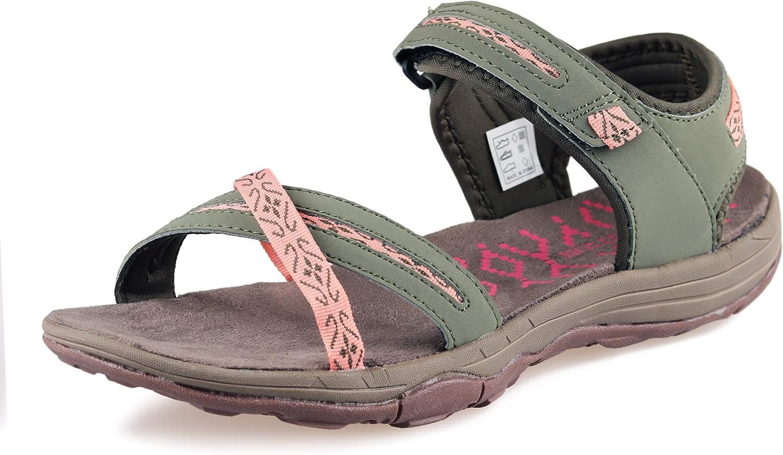 GRITION Women Hiking Sandals Flat Sport Walking Water Shoes Open Toe Beach Adjustable Outdoor Summer Beige Blue Green