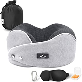 Allo Travel Pillow, Memory Foam Neck Pillow, Ultra Comfortable Adjustable Supportive Airplane Pillow with Breathable, Removable and Washable Pillowcase, Including Sleep Mask and Earplugs Grey