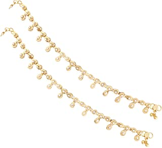 I Jewels Gold Plated Indian Anklets/Payal with Round Stones for Girls & Women A010FL