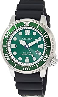 Men's Promaster Dive Watch with Eco-Drive Technology in Stainless Steel Green Dial, Black Rubber Strap, BN0158-00X