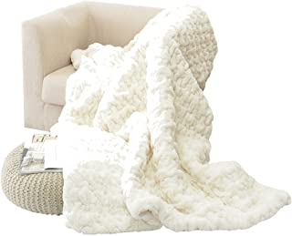 """HappyCare Textiles HCT BKT-002 Luxury Quilted Faux Fur Throw Blanket, 50"""" by 60"""", Ivory/White"""