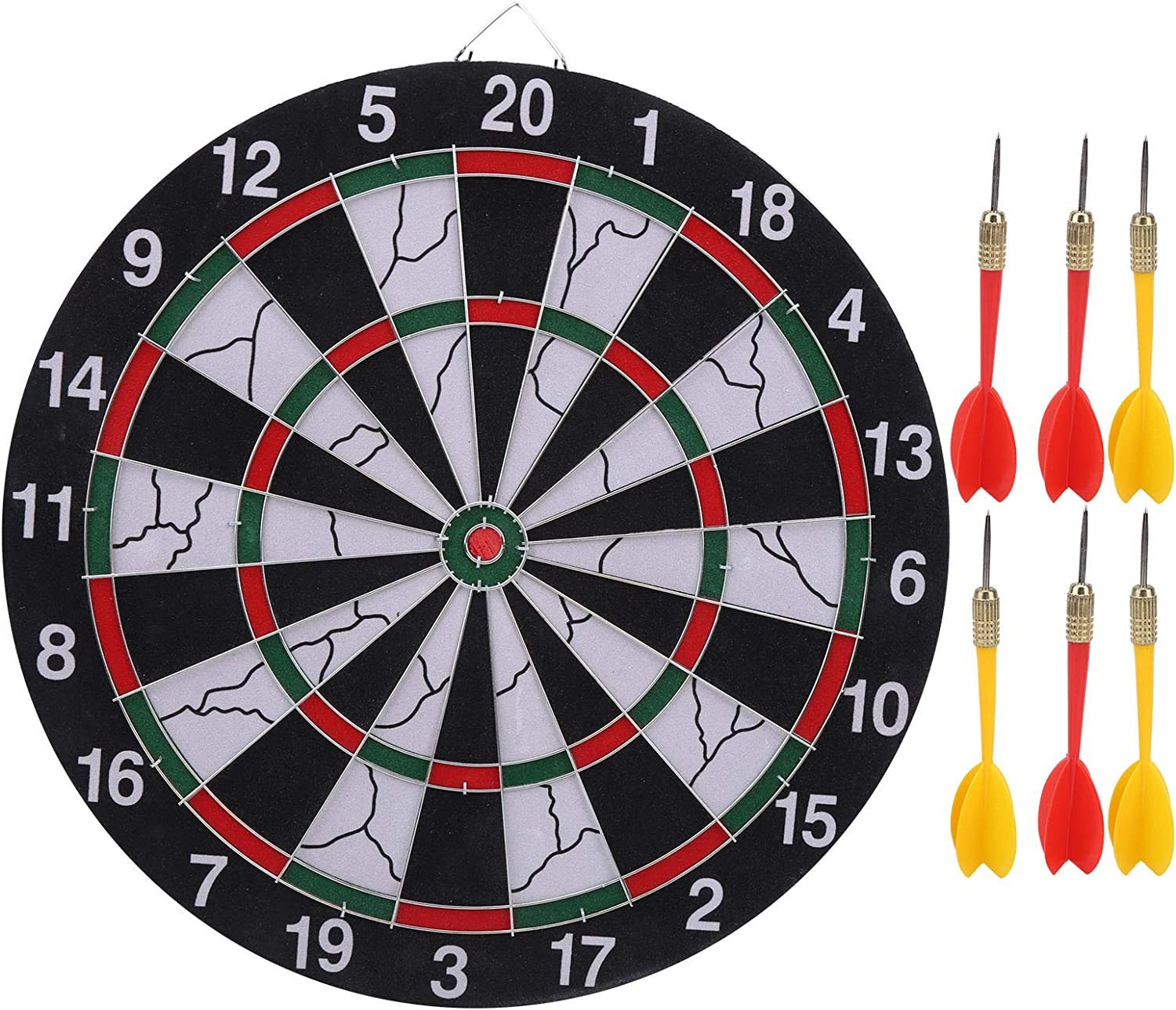 Wosune Two Sides Raleigh Mall Dartboard Max 43% OFF Boar Thicken Flocking 15in